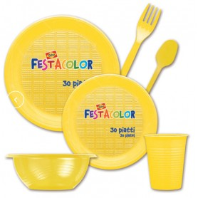 Giallo 20 forchette in plastica 17 cm
