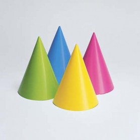 Cappello cono cartoncino colori assortiti 8 pz