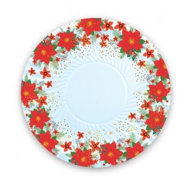 Natale christmas flower piatto 24 cm 8 pz