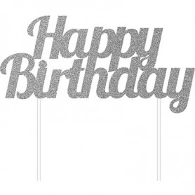 Decorazione Happy Birthday argento glitterato 15 x 1 pz