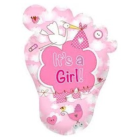 Palloncino mylar piede It\'s a girl cm.70x102