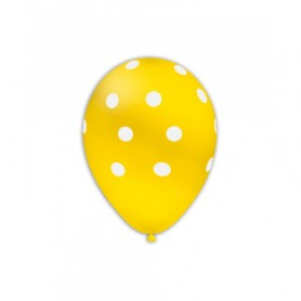 Palloncini lattice pois giallo 12 pollici 10 pz