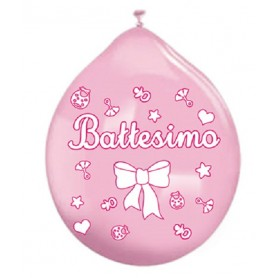 Palloncini in Lattice battesimo rosa 20 pz