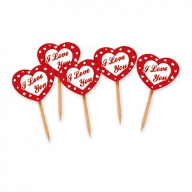 Picks sagomati cuore I Love you cm.4,5x6,5 pz.25