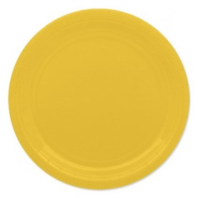 Giallo piatto 24 cm ecolor in carta 25 pz