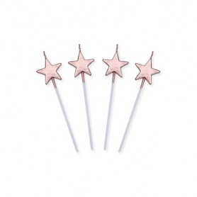 Candeline picks stelle rosa gold metal 13 cm 4 pz
